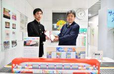 釜石東中に三鉄ThankYouFromKAMAISHI模型の売上げの一部寄付